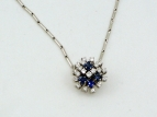 Diamonds and blue sapphire necklace